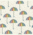seamless pattern with umbrellas and rain vector image
