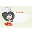 young woman enjoys pizza vector image