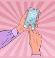 pop art woman hands using smartphone vector image