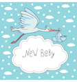 new baby stork flying with baby vector image