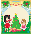 Christmas background with Christmas tree and girls vector image vector image