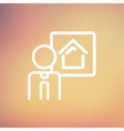 Real estate agent speech thin line icon vector image