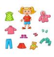 flat cartoon girl wardrobe objects set vector image
