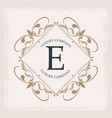 luxury company e monogram decorative crest vector image