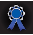 Realistic silver award with reb bow and vector image