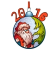 Santa Claus in fur-tree toy 2016 Merry Christmas vector image
