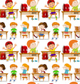 Seamless students in classroom vector image