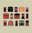 set of plastic wooden windows vector image