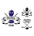 Ice hockey emblems and symbols vector image vector image