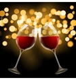Wineglass on blurred bokeh background Romantic vector image