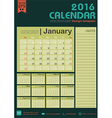Calendar 2016 green color tone design template vector image