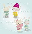 cute animals winter themed vector image