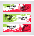 Mexican traditional food menu banners set Hand vector image