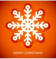 Snowflake winter red background christmas paper vector image