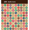 100 audio icons vector image
