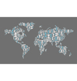 world map composed from many people silhouettes vector image vector image