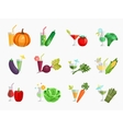 Vegetable juice flat icons set vector image vector image