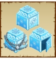 Three blue chest of ice open and closed vector image