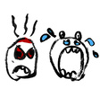 Emotion icons set Drawn angry and crying heads vector image