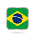 flag of brazil shiny metallic gray square button vector image