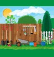 gardening tools set equipment for garden vector image
