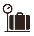 Luggage on weigh scales icon vector image