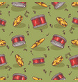 seamless pattern with cymbals and drums vector image