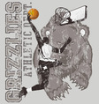 grizzly basketball vector image vector image