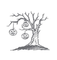 Hand drawn Halloween pumpkin faces hanging on tree vector image