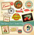 New year and christmas vintage design vector image vector image