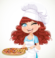 Cute curly hair girl chef offers a taste of pizza vector image