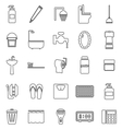 Bathroom line icons on white background vector image