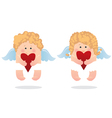 two angels and heart vector image vector image