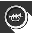 black and white round with trumpet icon vector image