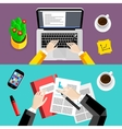 Business office and workspace background set vector image