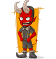 Cartoon young devil in grey shorts vector image