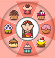 infographic set of sweet icons and woman vector image