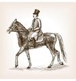 Vintage gentleman on horse sketch style vector image