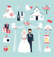 wedding elements invitation celebration set flat vector image