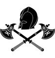 fantasy barbarian helmet with axes stencil vector image vector image