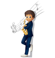 A musician holding a saxophone with musical notes vector image