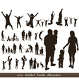 Set of very detailed family silhouettes vector image vector image