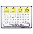 Technology hand drawing line icons vector image
