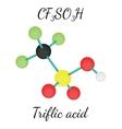 CF3SO3H Triflic acid molecule vector image