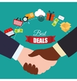handshake best deals shopping items vector image