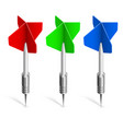 three colorful darts on white background for vector image vector image