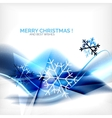 Blue Christmas blurred waves and snowflakes vector image vector image