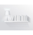 Realistic shelf on the wall with lamp vector image