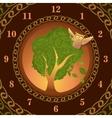 Watch of owl on oak vector image