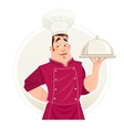 Chief cook with tray for food vector image vector image